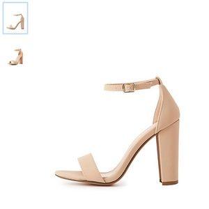 Charlotte Russe Beige Ankle Strap Heeled Sandals
